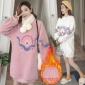加绒加厚羊羔绒毛孕妇卫衣新款2018冬季宽松大码刺绣孕妇卫衣绒衫